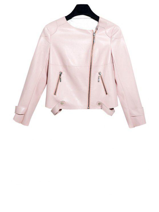 fancy Solid Color Zipper Fly Jacket - PINK S