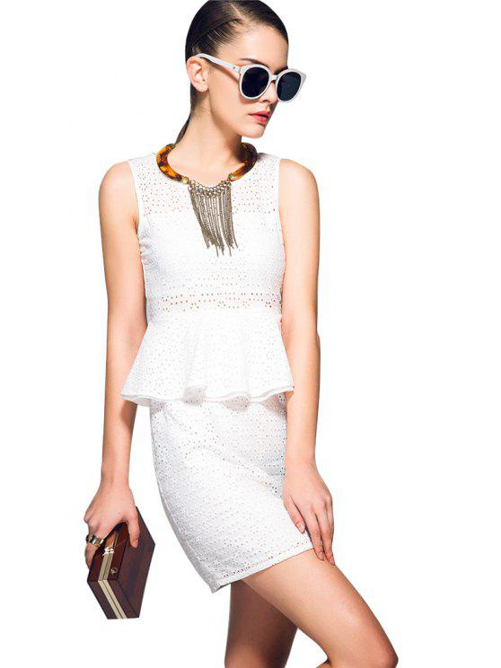 chic Openwork Flounce Splicing Dress - WHITE S