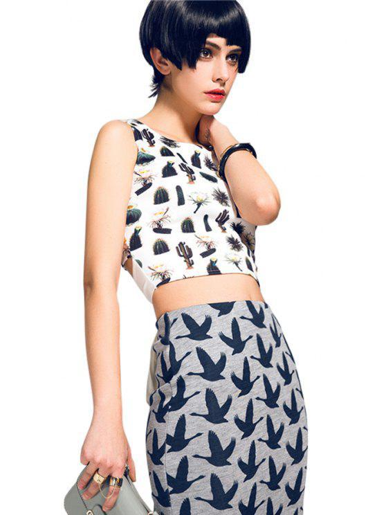 women's Cactus Print Tie-Up Sleeveless Tank Top - WHITE S