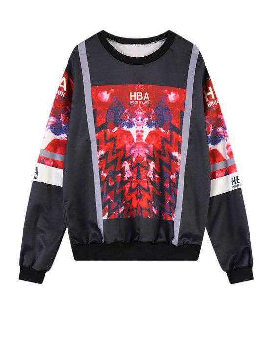 best Print Scoop Neck Sweatshirt - RED ONE SIZE(FIT SIZE XS TO M)