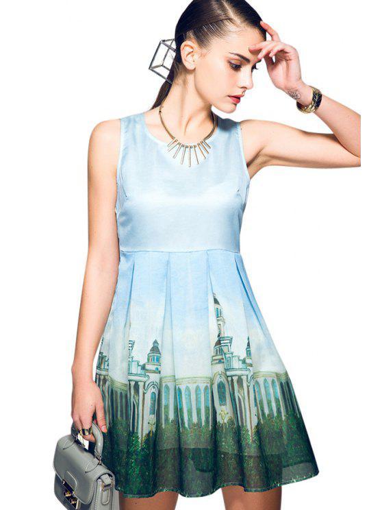 online Ruffle Print Splicing Sleeveless Dress - LIGHT BLUE S