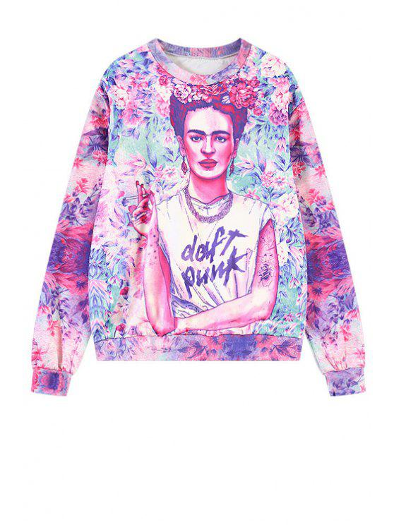 new Floral and Figure Print Sweatshirt - PURPLE ONE SIZE(FIT SIZE XS TO M)