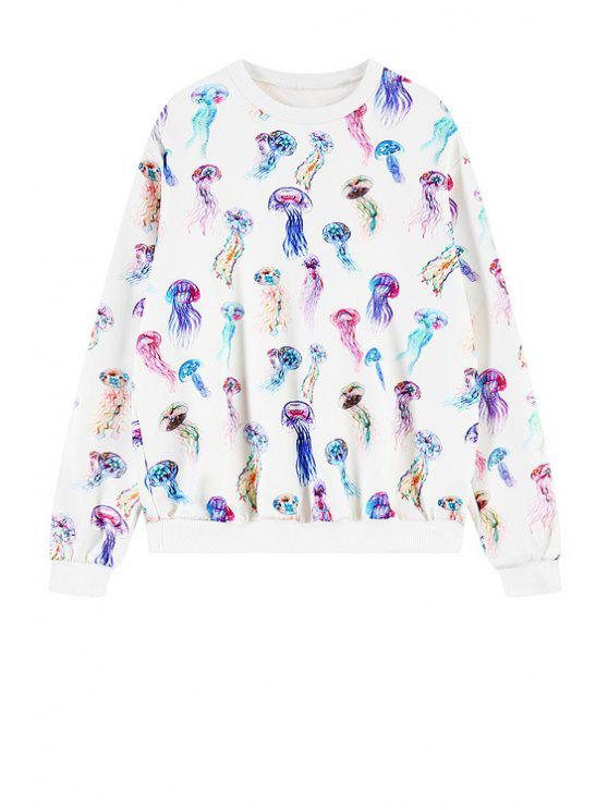 hot Full Jellyfish Print Sweatshirt - WHITE ONE SIZE(FIT SIZE XS TO M)