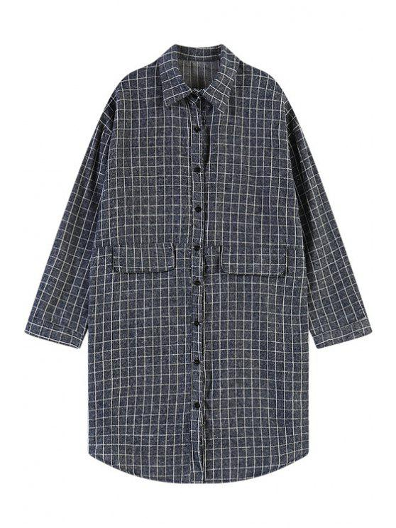 shop Long Sleeve Checked Pattern Shirt - BLUE ONE SIZE(FIT SIZE XS TO M)