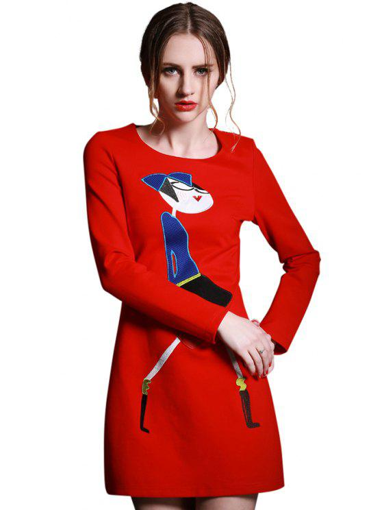 online Cartoon Figure Embroidery Dress - RED L