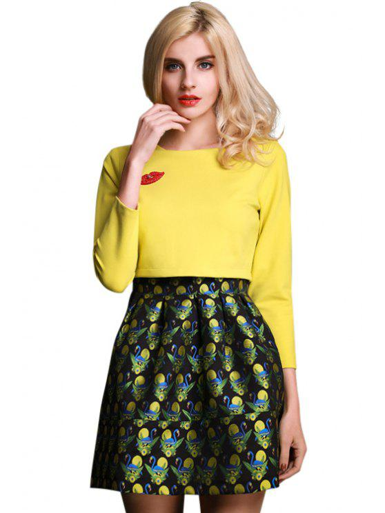 lady Lip Swan Embroidery Splicing Dress - YELLOW S