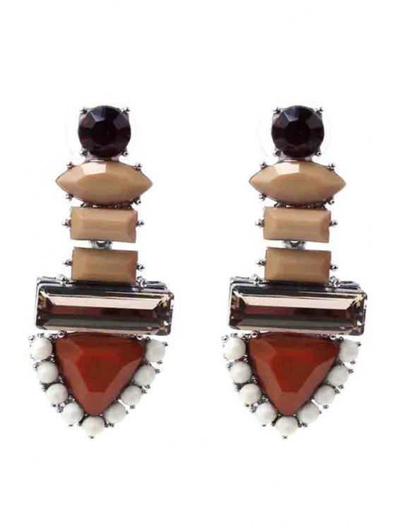 online Colored Rhinestone Triangle Earrings - COFFEE
