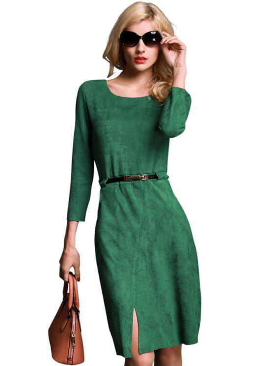 women Solid Color Slit Belt Long Sleeve Dress - GREEN S