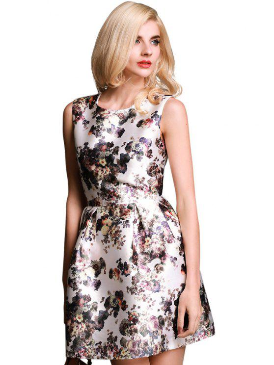 new Floral Print A-Line Sleeveless Dress - WHITE S