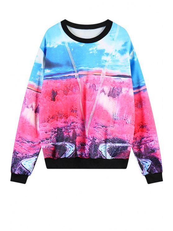 womens Long Sleeves Scenery Print Sweatshirt - COLORMIX ONE SIZE(FIT SIZE XS TO M)