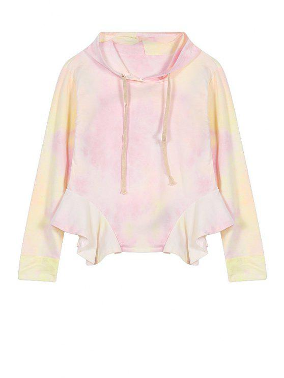 shop Print Ruffles Splicing Hoodie - SHALLOW PINK ONE SIZE(FIT SIZE XS TO M)