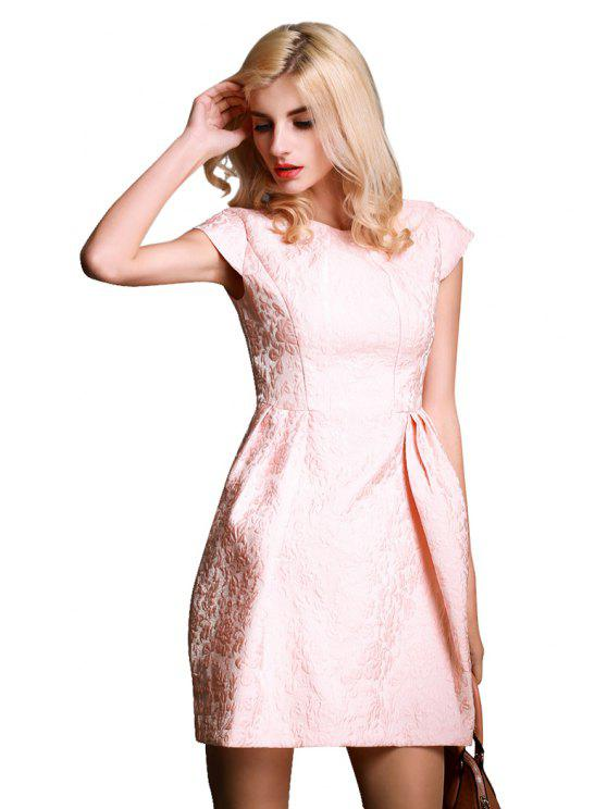 women Solid Color Ruffle Jacquard Dress - PINK S