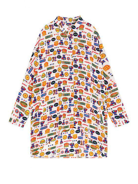 new Full Number Letter Print Shirt - WHITE ONE SIZE(FIT SIZE XS TO M)