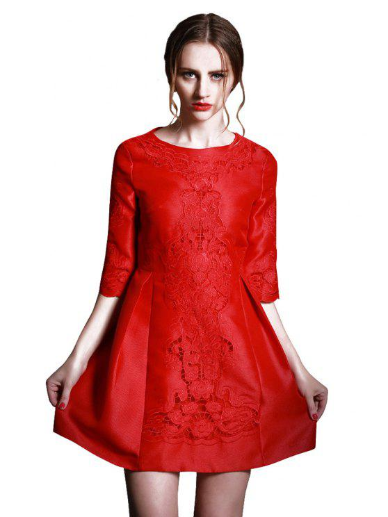 fashion Solid Color Openwork Half Sleeve Dress - RED S