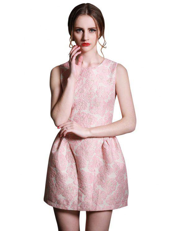 women's Ruffle Jacquard  Sleeveless Dress - PINK S