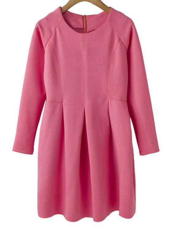 outfits Solid Color A-Line Dress - PINK S
