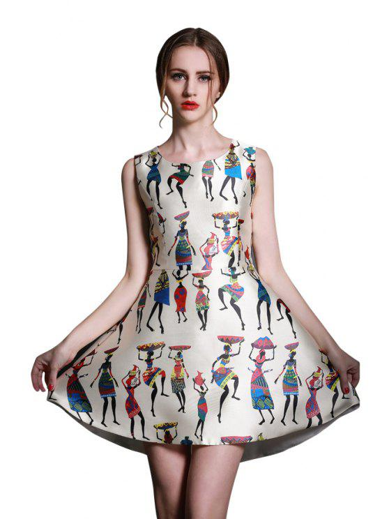 fancy Figure Print Asymmetrical Dress - OFF-WHITE S