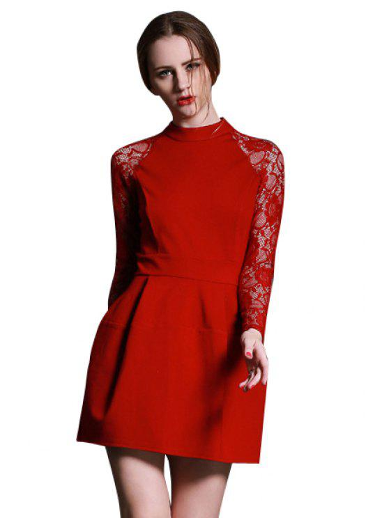 womens Lace Splicing Back Openwork Dress - RED S