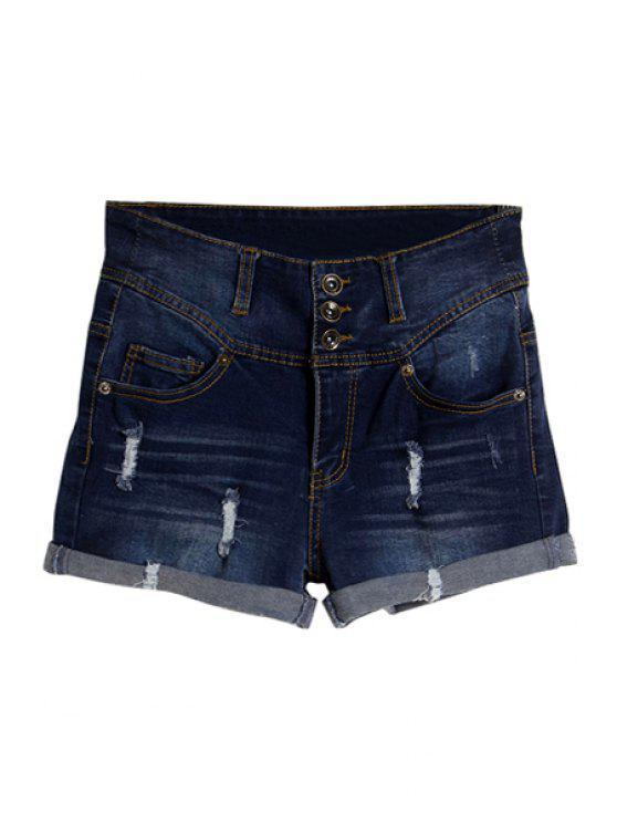 lady Three Buttons Denim Shorts - DEEP BLUE 34