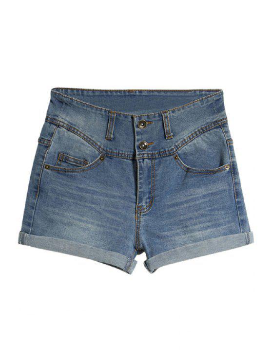 womens Hemming Denim Shorts - LIGHT BLUE 38