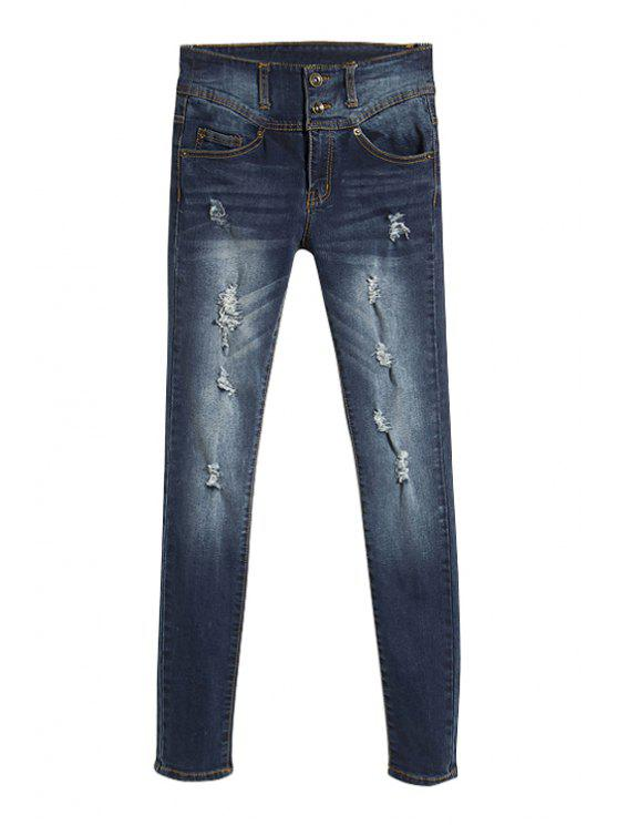 fashion Double Button Frayed Jeans - DEEP BLUE 34
