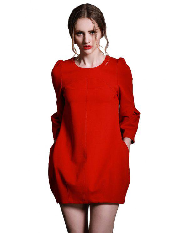 womens Solid Color Back Zipper Lantern Sleeve Dress - RED S