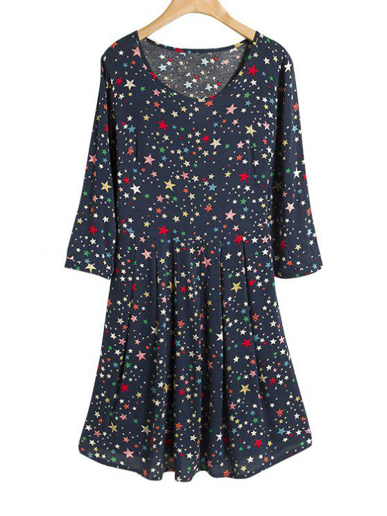 affordable Full Star Print 3/4 Sleeve Dress - PURPLISH BLUE M
