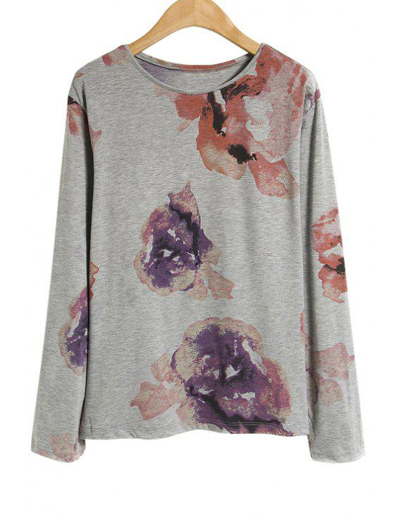 fashion Long Sleeve Floral Print T-Shirt - GRAY ONE SIZE(FIT SIZE XS TO M)