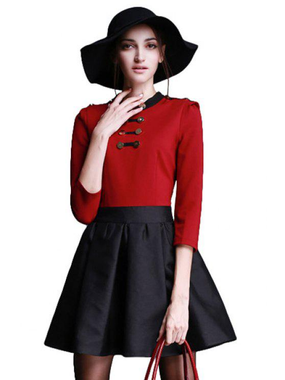 outfit Splicing Color Block Buttons Dress - WINE RED S