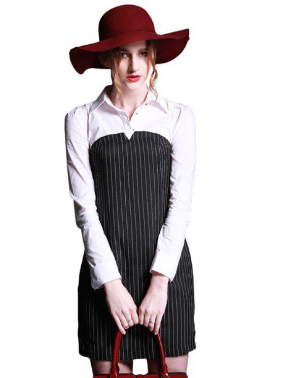 women Polo Collar Stripe Color Block Dress - WHITE AND BLACK S