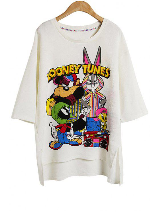 sale Characters Print Half Sleeve T-Shirt - WHITE ONE SIZE(FIT SIZE XS TO M)