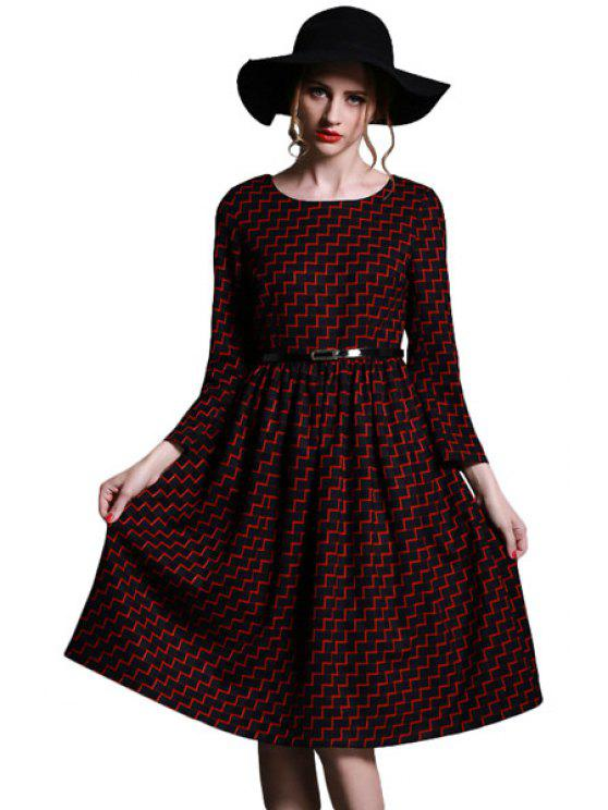 latest Stripe Long Sleeve Dress - RED S