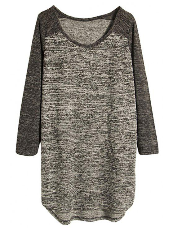 buy Color Block Raglan Sleeve T-Shirt - GRAY ONE SIZE(FIT SIZE XS TO M)