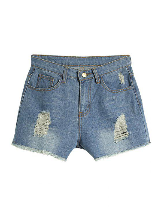 buy Broken Hole Denim Shorts - BLUE S