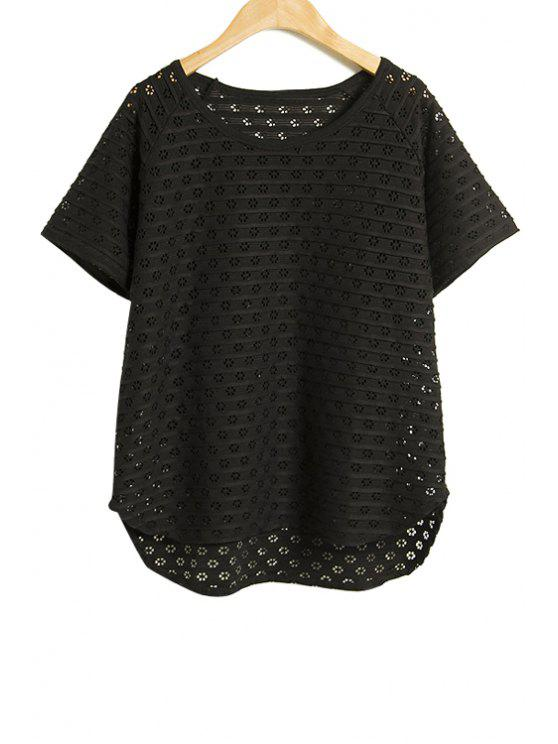 womens Hollow Out Short Sleeve T-Shirt - BLACK ONE SIZE(FIT SIZE XS TO M)