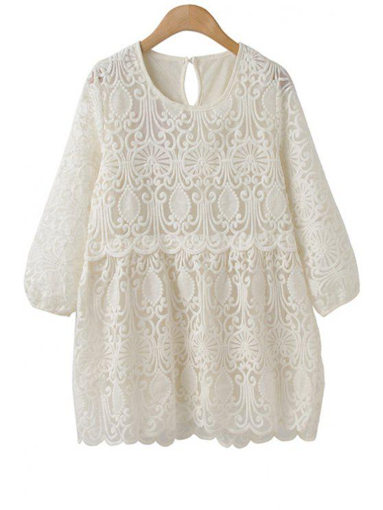 hot Solid Color Lace 3/4 Sleeve Shirt - WHITE M