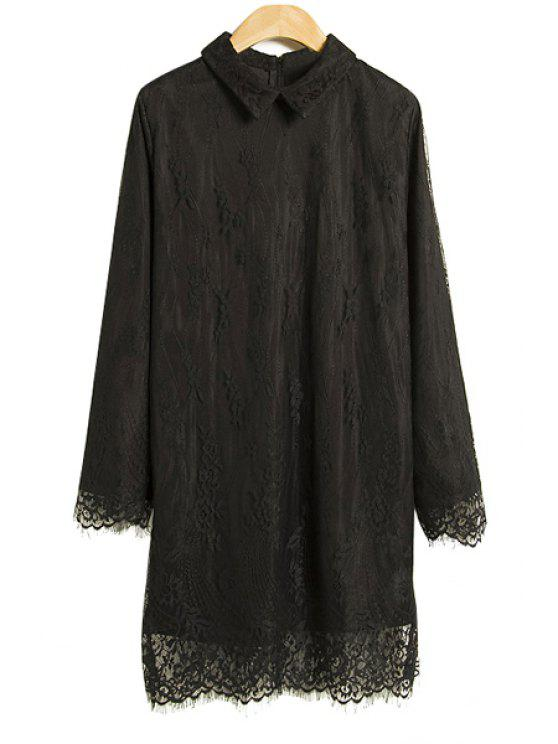 new Turn-Down Collar Lace Dress - BLACK S