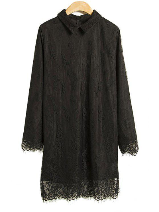 new Turn-Down Collar Lace Dress - BLACK S