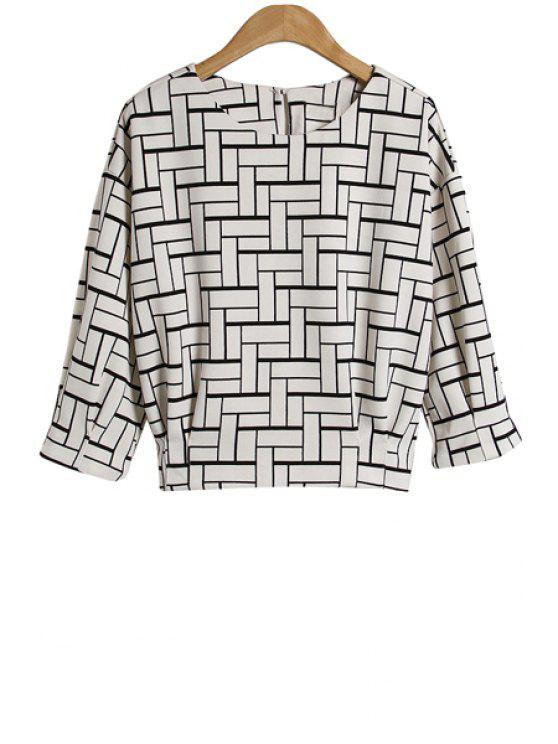 shops Checked Print 3/4 Sleeve Blouse - CHECKED S