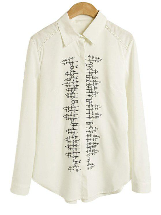 unique Embroidery Shirt Collar Shirt - WHITE S