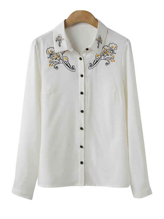 shop Polo Collar Floral Embroidery Shirt - WHITE M