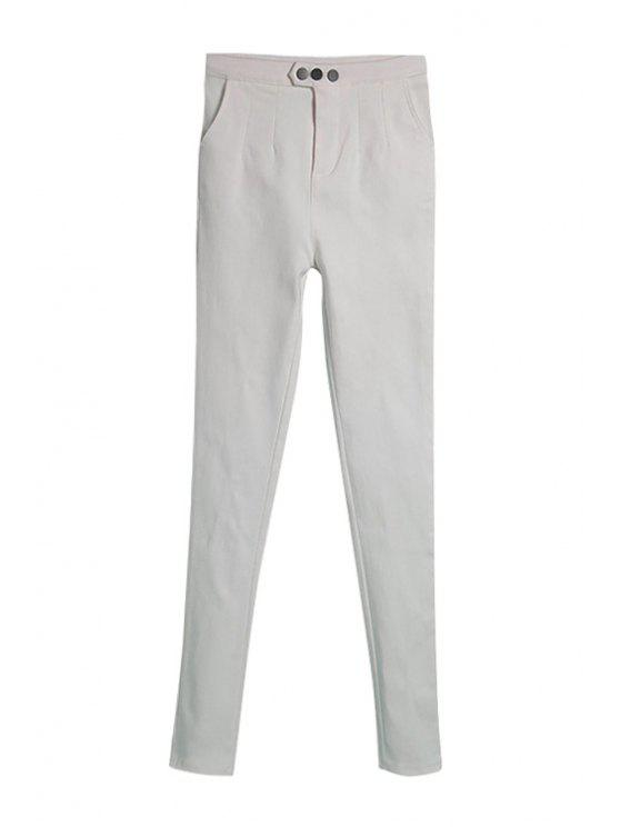 lady White Narrow Feet Pants - WHITE M