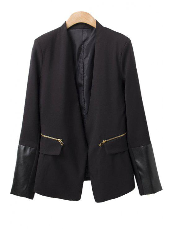 latest Faux Leather Splicing Zipper Blazer - BLACK S