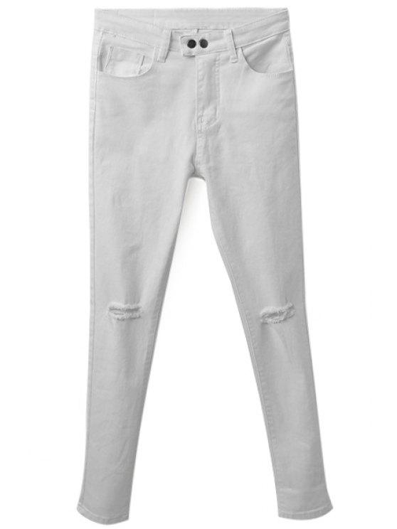 hot Hole Two Buttons Zipper Fly Jeans - WHITE L