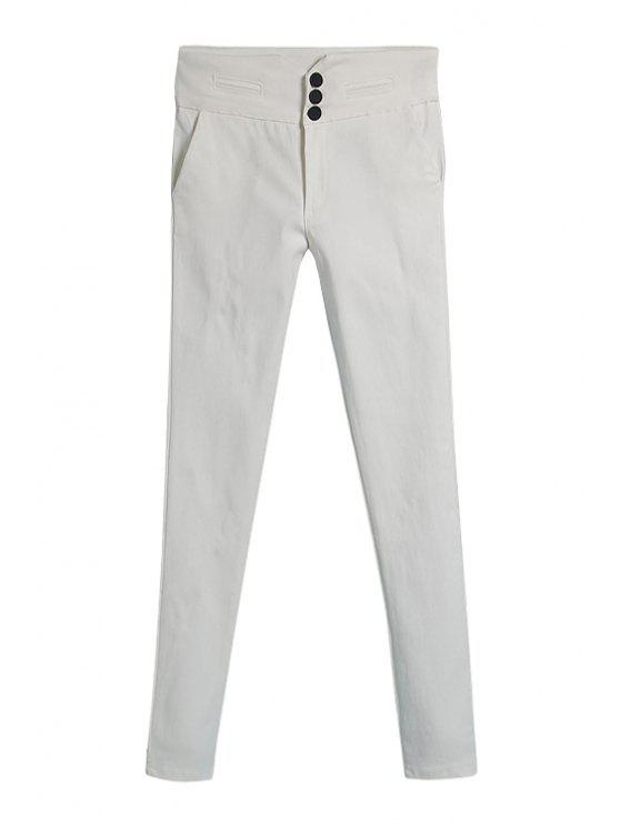 latest White Skinny Elasticity Pants - WHITE M