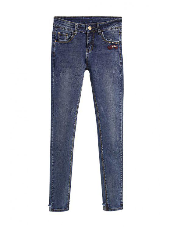 shops Mustache Embroidery Skinny Jeans - BLUE 26