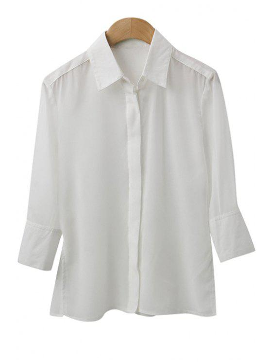 fashion Solid Color Side Slit Ruffle Shirt - WHITE S