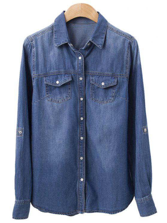 sale Bleach Wash Pockets Denim Shirt - DEEP BLUE S