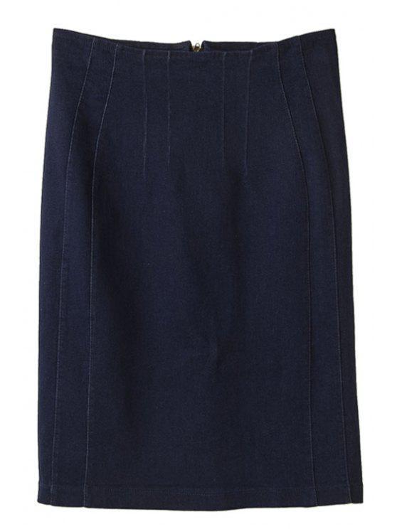 women's Solid Color Denim Skirt - DEEP BLUE S