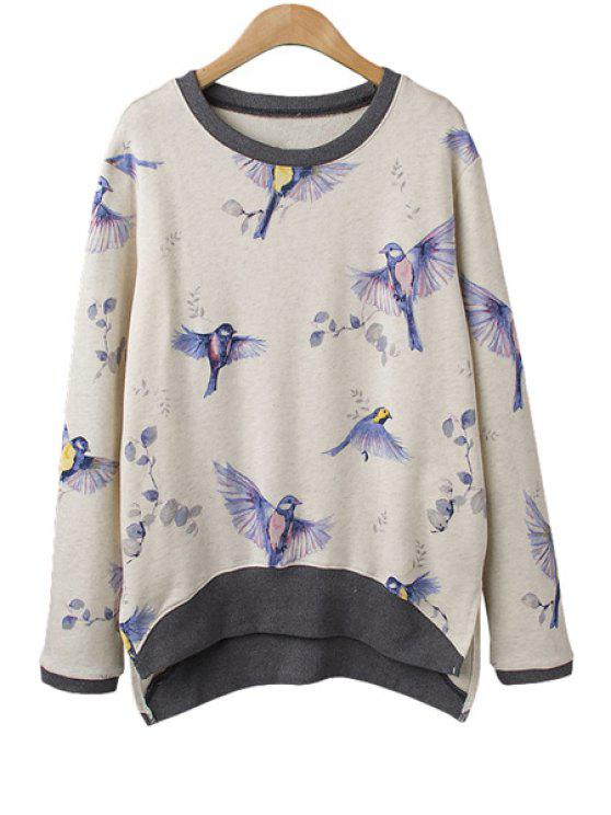 women Full Bird Print Sweatshirt - OFF-WHITE ONE SIZE(FIT SIZE XS TO M)